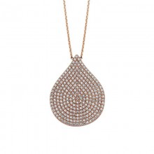 Rose Gold Cubic Zirconia Drop Necklace Silver Wholesale