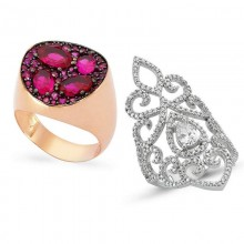 Wholesale CZ Multicolor Turkish Ruby Silver Rings