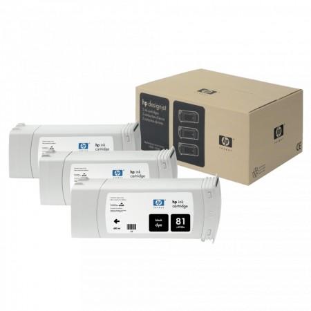 Poze TRIPack Cartus Dye Black HP 81 680ml C5066A Original HP Designjet 5000