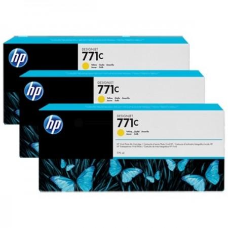 Poze TRIPack Cartus Yellow HP 771C B6Y34A 3X775ml Original HP Designjet Z6200