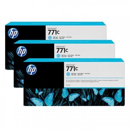 Poze TRIPack Cartus Light Cyan HP 771C B6Y36A 3X775ml Original HP Designjet Z6200