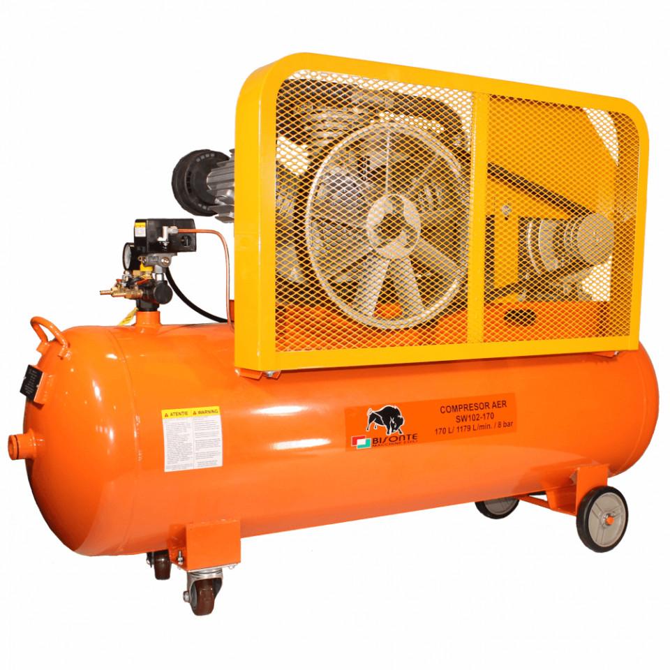 Bisonte compresor cu ulei si transmisie prin curea SW102-170, debit aer 1.179 l/min., motor 400V imagine 2021