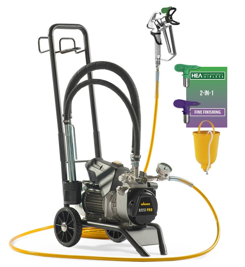 "Wagner SuperFinish 23 PRO Cart HEA, debit material 2.6 l/min, duza max. 0,023"", motor electric 1,30 kW"