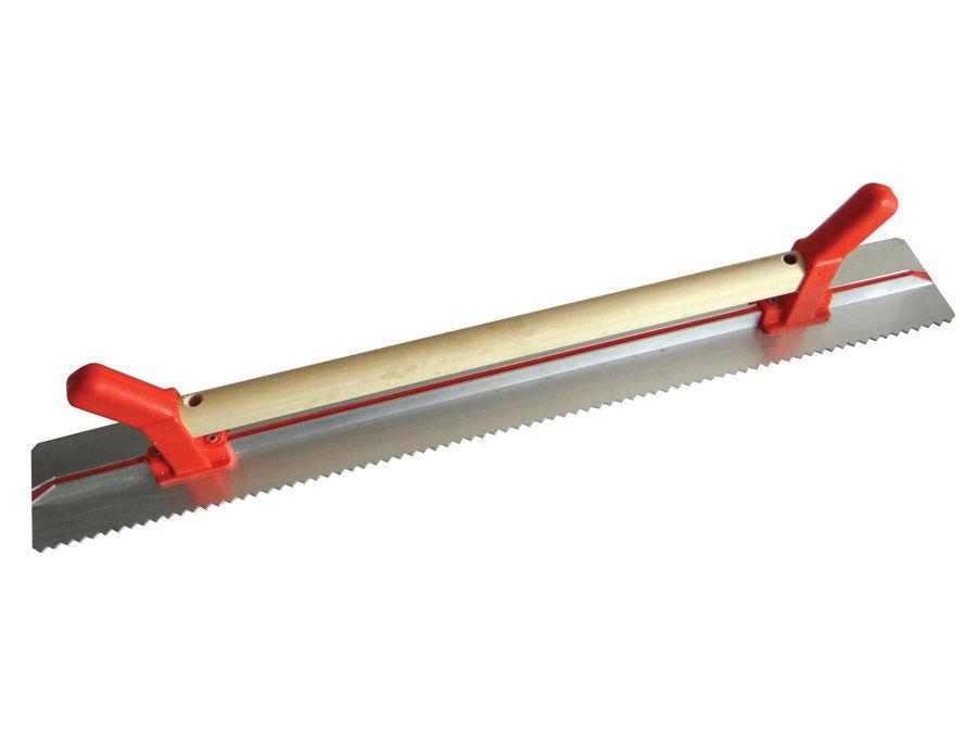 Rigle de tencuire cu o latura dintata şi maner de lemn + PVC 1000×100