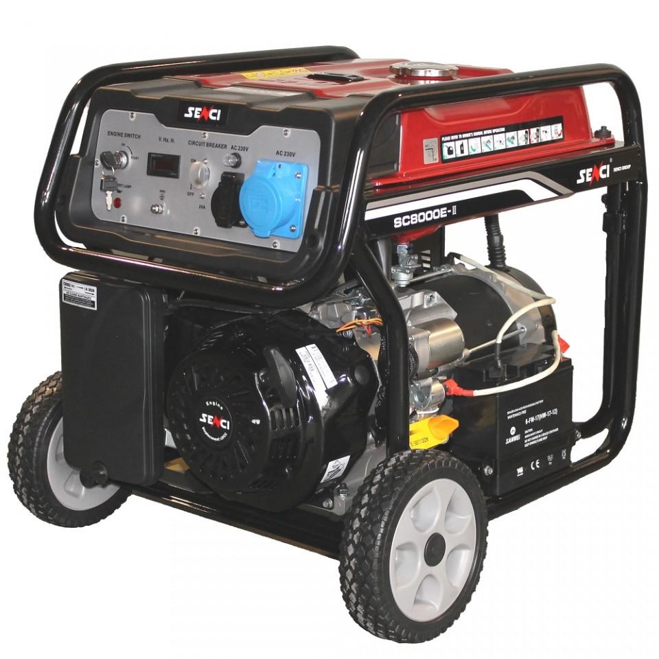 Generator De Curent Senci Sc-8000e  7000w  230v - Avr Inclus  Motor Benzina Cu Demaraj Electric