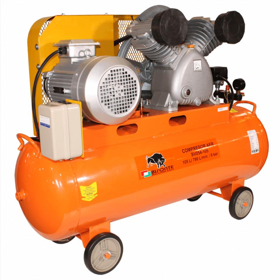Bisonte compresor cu ulei si transmisie prin curea SV054-105, debit aer 786 l/min., motor 400V imagine 2021