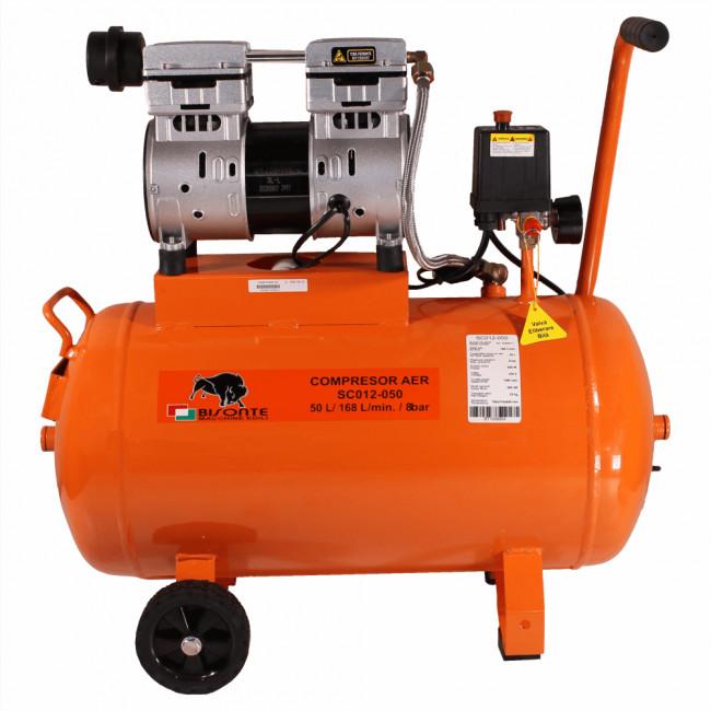 Bisonte compresor fara ulei SC012-050, debit aer 168 l/min., motor 230V