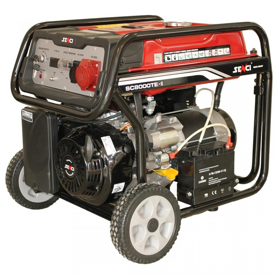Generator De Curent Senci Sc-8000te  7000w  400v - Avr Inclus  Motor Benzina Cu Demaraj Electric