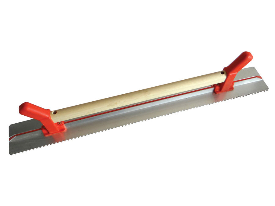 Rigle de tencuire cu o latura dintata şi maner de lemn + PVC 1200×100