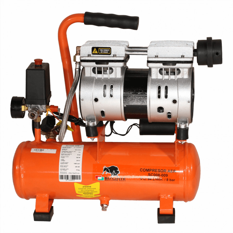 Bisonte compresor electric fara ulei SC008-009, debit aer 94 l/min., motor 230V imagine 2021