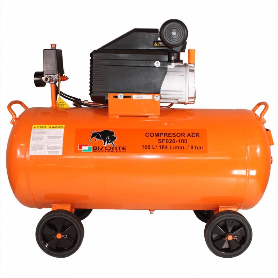 Bisonte compresor de aer cu ulei SF020-100, debit aer 187 l/min., motor 230V imagine 2021