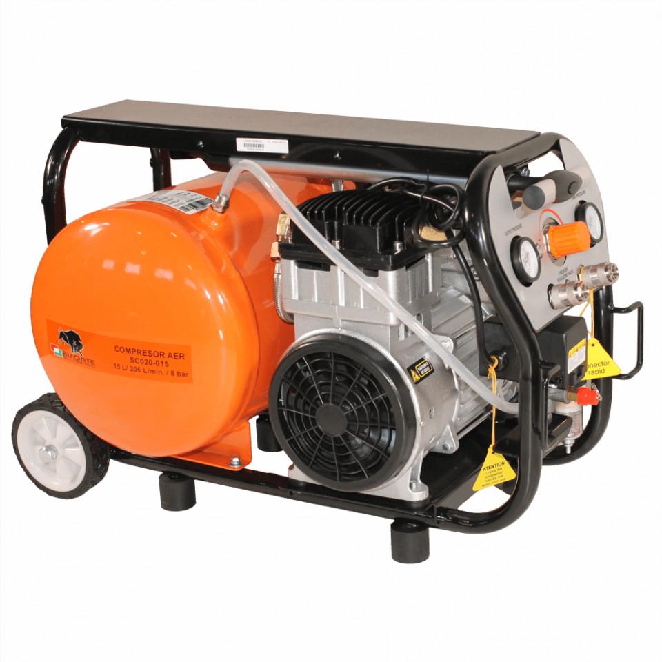 Bisonte compresor de aer fara ulei SC020-015, debit aer 206 l/min., motor 230V imagine 2021