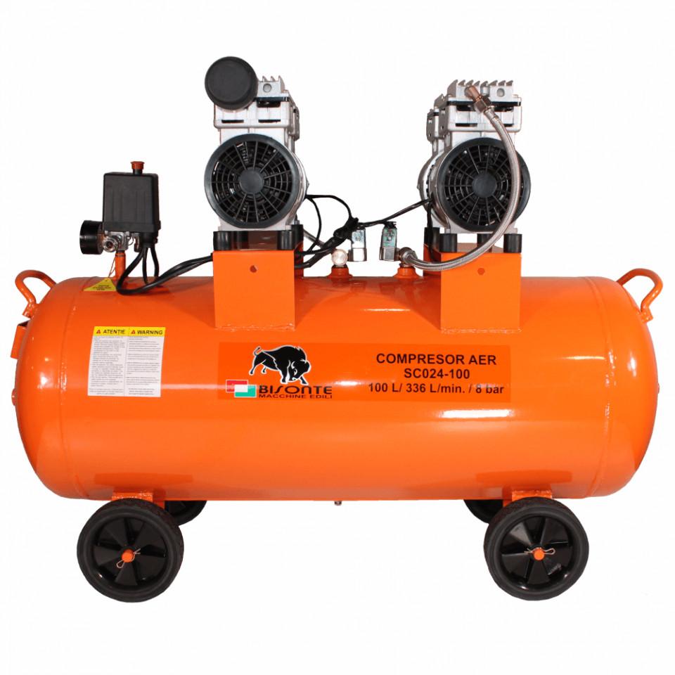 Bisonte compresor de aer fara ulei SC024-100, debit aer 336 l/min., motor 230V imagine 2021