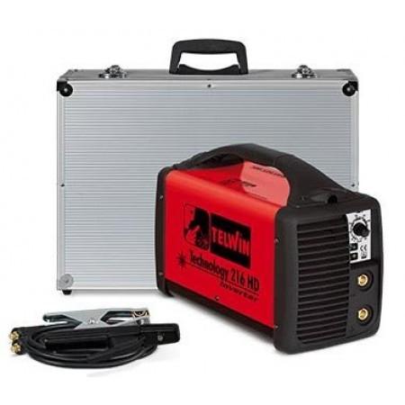 Invertor sudura portabil monofazat cu accesorii si cutie de transport din aluminiu TELWIN TECHNOLOGY 216 HD
