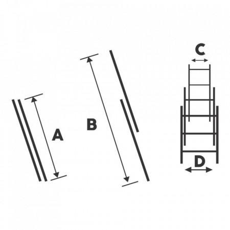 Scara dubla aluminiu Bisonte STR207 2×7 trepte, 186 cm