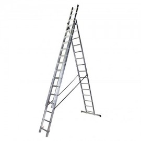 Scara tripla 15 trepte, 4.13 m aluminiu STR315