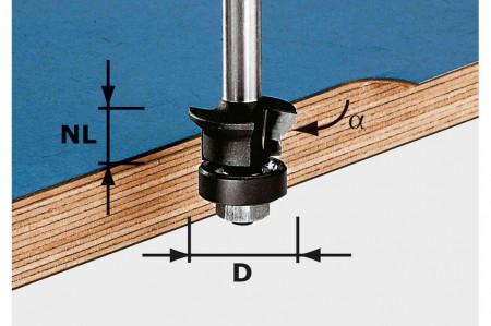 Festool Freză pentru faţetare şi frezare coplanară HW S8 D24/0° +45°