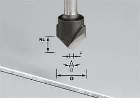 Festool Freză de canelat in forma de V HW S8 D18-90°/Alu