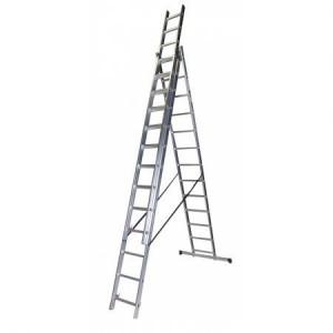 Scara tripla 13 trepte, 3.59 m aluminiu STR313