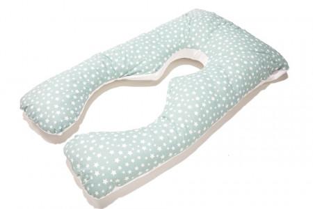 Poze HUSA perna TEO, pentru gravide si alaptare, model 2 fete Alb si Stelute, LEMON BOX