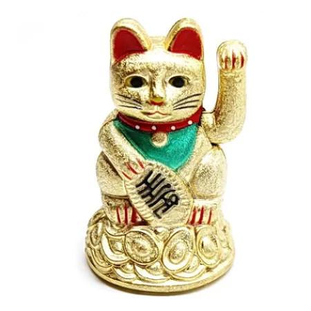 Pisica norocoasa Maneki Neko aurie remediu Feng Shui din Plastic, 70 mm lungime