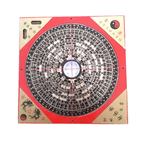 Busola geometrica Luo Pan mare remediu Feng Shui din Lemn, 160 mm lungime