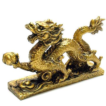 Dragon cu perla nemuririi remediu Feng Shui din Rasina, 120 mm lungime