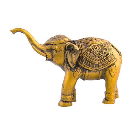 Elefant auriu cu trompa in sus remediu Feng Shui din Rasina, 140 mm lungime