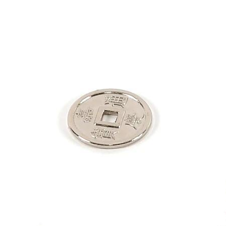 Moneda chinezeasca argintie remediu Feng Shui din Metal, 40 mm lungime