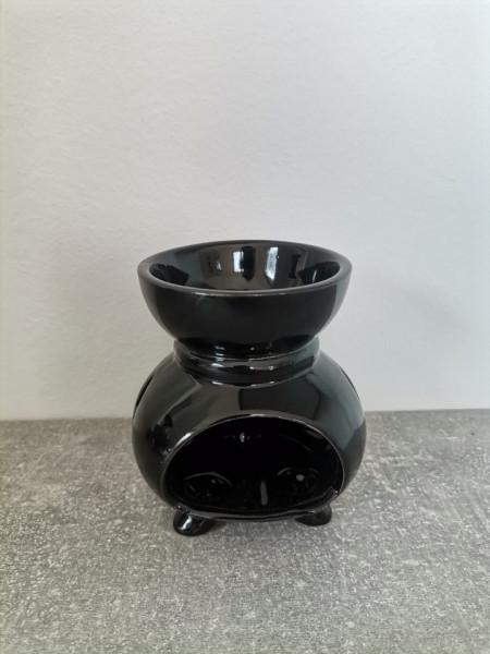 Suport ceramica ulei aromaterapie rotund negru