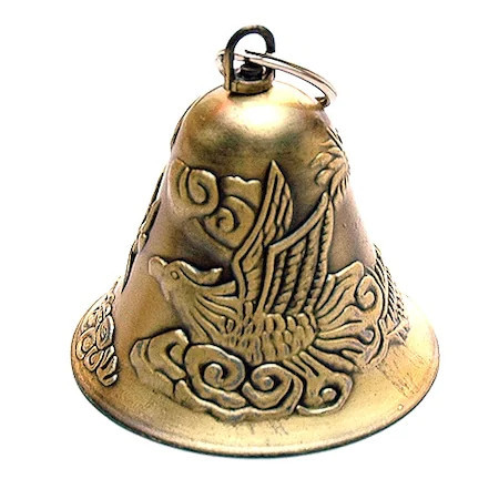 Clopotel auriu cu dragon si phoenix remediu Feng Shui din Metal, 62 mm lungime