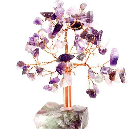 Copacei Feng Shui mari cu ametist, 68 cristale piatra divinitatii pentru dormitor, suport din piatra semipretioasa, obiect decorativ mov, 13 cm