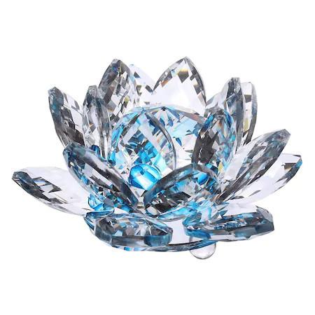 Floare de lotus albastra din cristal remediu Feng Shui, 80 mm lungime