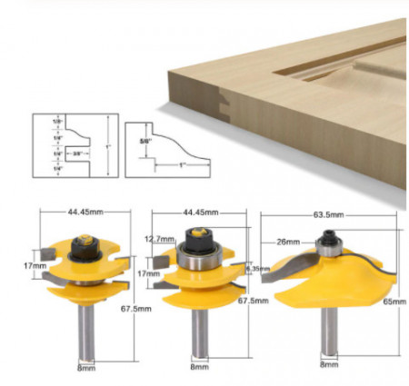 Set 3 freze lemn GOBI pentru usi dulap / fete sertar prindere 8 mm