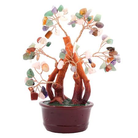 Copac cu pietre semipretioase mixt pe suport ceramic remediu Feng Shui din Pietre semipretioase, 80 mm lungime