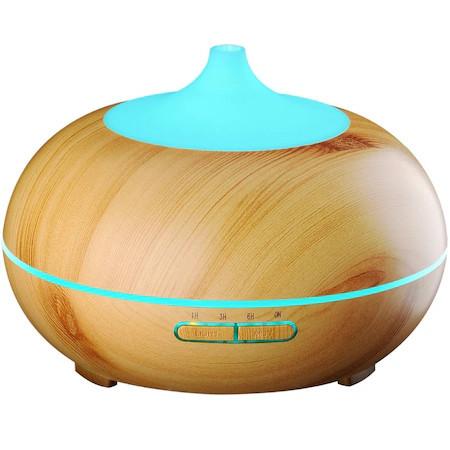 Difuzor aromaterapie cu ultrasunete si lumina LED 7 culori , 300 ml, lemn deschis
