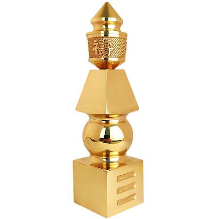 Pagoda dimensiune mare 19 cm, cel mai puternic remediu feng shui pentru protectie de pierderi financiare si ghinioane, cu cele 5 elemente din metal auriu