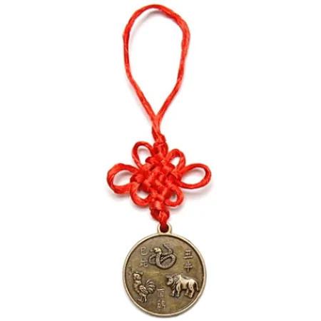 Amuleta de protectie pentru aliati zodiacali Bivol, Sarpe si Cocos remediu Feng Shui din Alama, 120 mm lungime