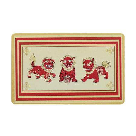 Card de protectie cu cei trei gardieni celesti, cei trei lei sau cei trei gardieni divini remediu Feng Shui din PVC auriu sidefat, 80 mm lungime