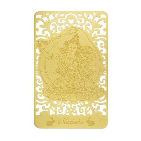 Card de protectie pentru zodia iepure MANJUSHRI remediu Feng Shui din PVC auriu sidefat, 80 mm lungime