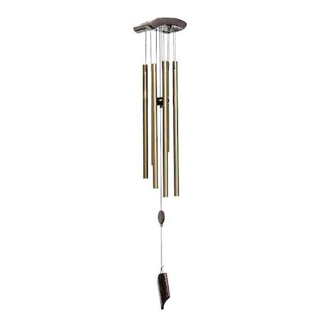 Clopotel de vant cu 6 Tuburi de Metal (Goale), cu bila de lemn remediu Feng Shui din Metal, 100 mm lungime