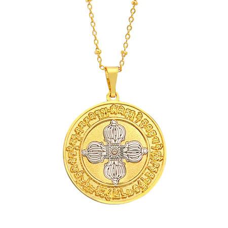 Amuleta pandantiv cu DUBLA DORJE aurie si mantra dorintelor remediu Feng Shui din Metal, 35 mm lungime