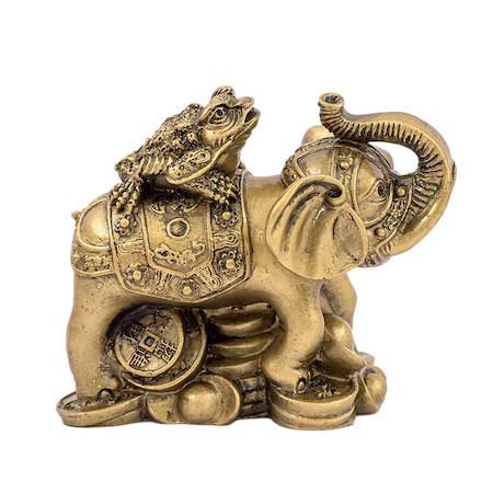 Elefant cu broasca raioasa cu trei picioare remediu Feng Shui din Rasina, 90 mm lungime