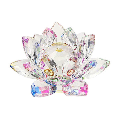 Floare de lotus multicolora din cristal remediu Feng Shui, 80 mm lungime