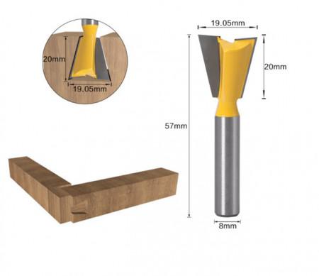 Freza lemn GOBI imbinare tip coada de randunica prindere de 8 mm