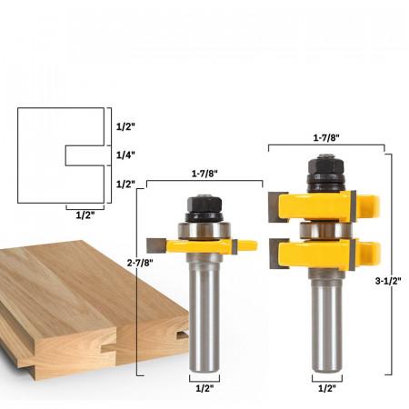 Set 2 freze lemn NUT si FEDER frezat imbinare lemn prindere 12.6 mm (diametru freza 47.4mm)
