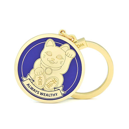 Amuleta ALWAYS WEALTHY – Pisica Maneki Neko, remediu Feng Shui din metal, 50 mm lungime
