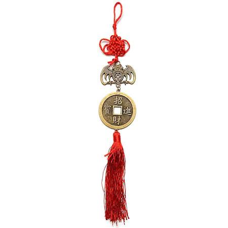 Amuleta feng shui cu Moneda prosperitatii si liliac remediu Feng Shui din Metal, 300 mm lungime