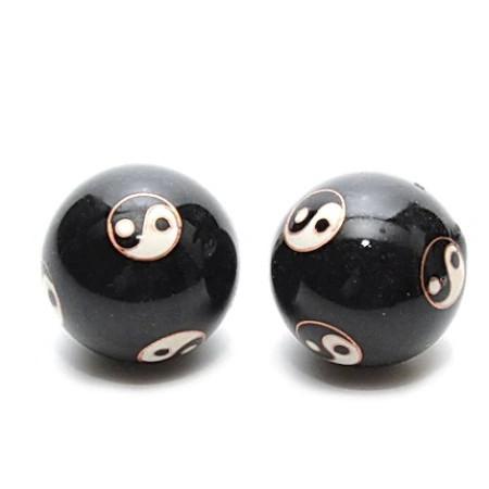 Bile pentru relaxare negre cu Yin si Yang (Baoding) remediu Feng Shui din Metal, 35 mm lungime