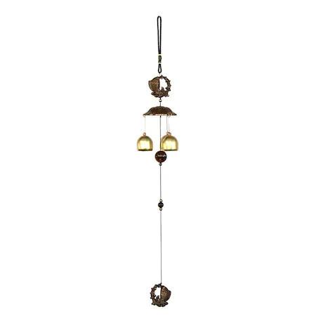 Clopotel de vant cu 3 tuburi si pesti remediu Feng Shui din Metal, 550 mm lungime